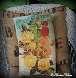 Cottage roses garden seeds shabby floral flowers heirloom pillow Victorian