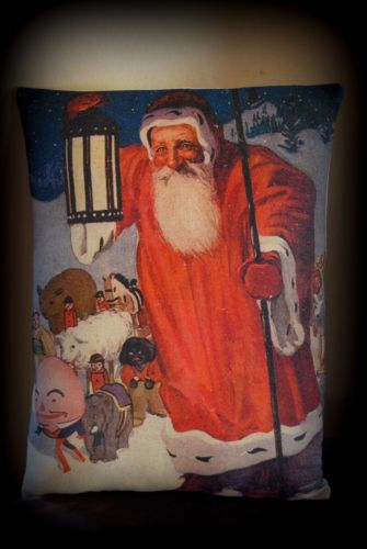Antique belsnickle Santa Claus Christmas Toys pillow Lantern parade old world