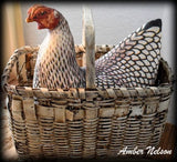 Black white fake hen chicken rooster doll farmhouse decor basket cupboard tuck
