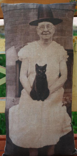Halloween Grandma Witch coven photo pillow party decor old antique cat