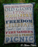 4TH OF JULY flag American Sign sayings words pillow porch decor