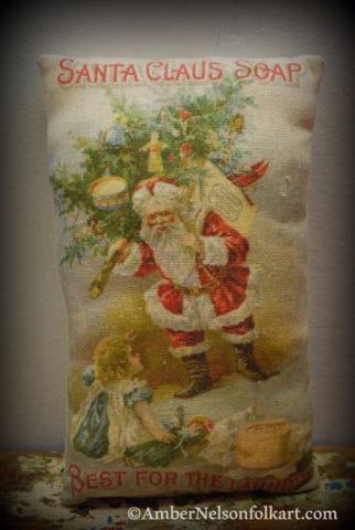 Christmas laundry bathroom Santa Claus Soap cupboard shelf tuck sign pillow #2