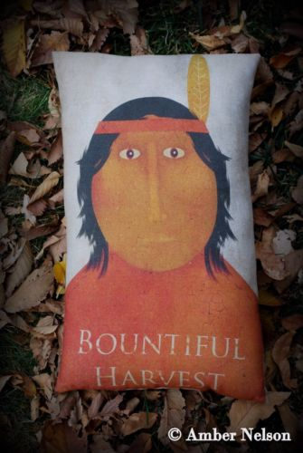 Thanksgiving day decor pillow bountiful harvest indian country primitive pilgrim