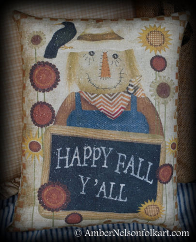 Happy fall scarecrow harvest Halloween primitive country pillow sunflower crow
