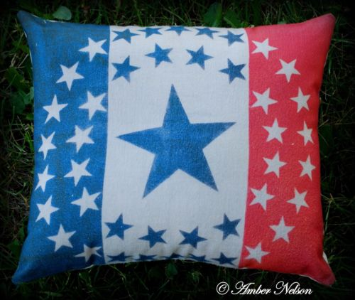 4th of July primitive antique parade banner circle star flag old pillow