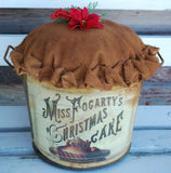 Primitive Mrs Fogartys advertisement sign Christmas Cake fake food kitchen decor