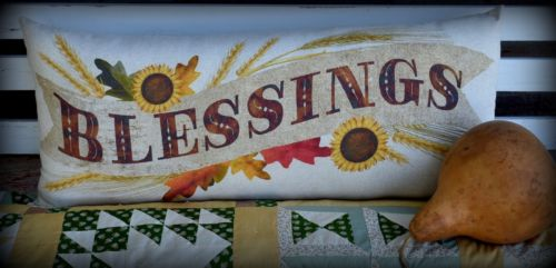 HUGE Farmhouse Fall Harvest Bench Pillow sign BLESSINGS sunflowers leaves swing