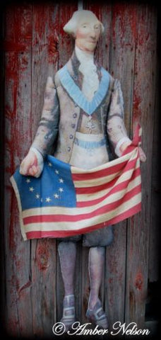 HUGE president Washington doll antique flag bunting 4th of July party decoration