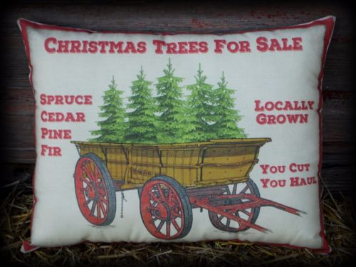 Old antique wagon Christmas trees for sale sign pillow Country feather farmhouse