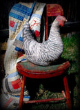 black white farmhouse hen chicken rooster primitive basket cupboard tuck doll