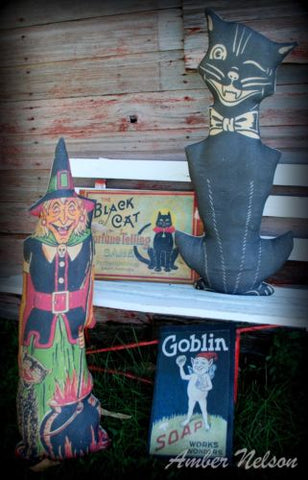 Vintage Halloween HUGE standing Black cat winking smiling Antique inspired old