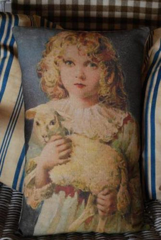 Easter spring lamb sheep girl portrait pillow God religious gift baby