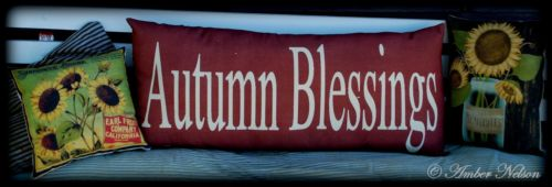 primitive Autumn blessings porch pillow fall harvest autumn decoration sign HUGE