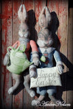 primitive garden bunny rabbit door wall hanging porch sitter HUGE Easter WELCOME