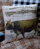 French country farmhouse grain sack bag dairy cow flour butter store sign pillow