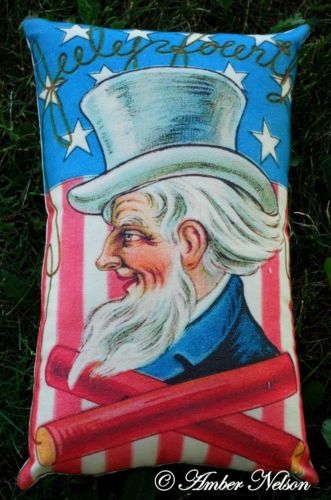 4th of July Uncle Sam stars stripes antique postcard pillow bbq decor
