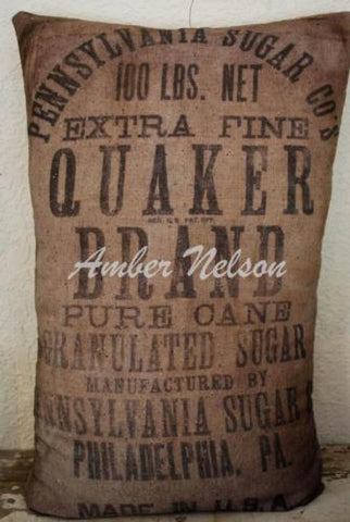 Primitive antique farmhouse farmers Colonial Salt bag sack pillow kitchen decor