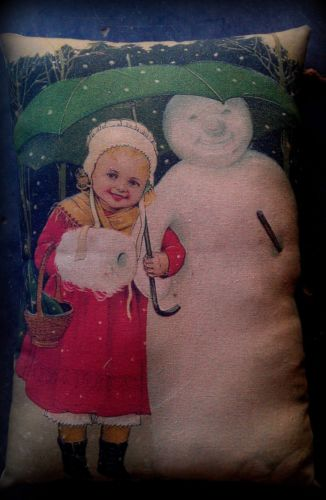 Christmas antique winter girl under umbrella snow snowman pillow Victorian old