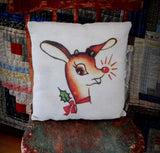 Christmas Rudolph the red nosed reindeer retro vintage throw pillow old style