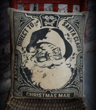 Primitive antique looking santa claus north pole stamp pillow old world mail