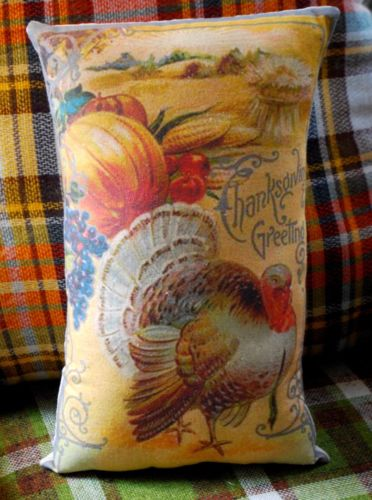vintage Thanksgiving harvest pumpkin turkey fall antique pc pillow primitive