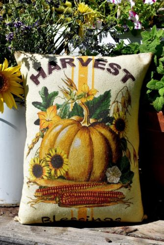 Farmhouse Fall Harvest blessings Pillow sign Corn sunflowers grain sack pumpkin