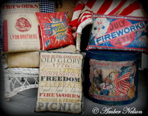 4TH OF JULY car bunting flag photograph pillow old antique flag