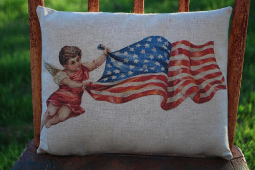 4TH OF JULY flag American cupid angel patriotic independence day