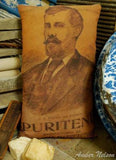 primitive farmhouse antique portrait early laundry soap box wash room pillow