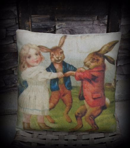Easter Bunny rabbits dancing with girl spring bunnies in clothes basket pillow