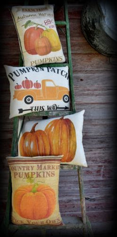 Pumpkin country fall harvest autumn farm pillow rustic primitive farmhouse brown