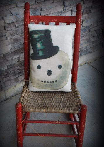 Christmas frosty the snowman in black top hat pillow old world vintage winter