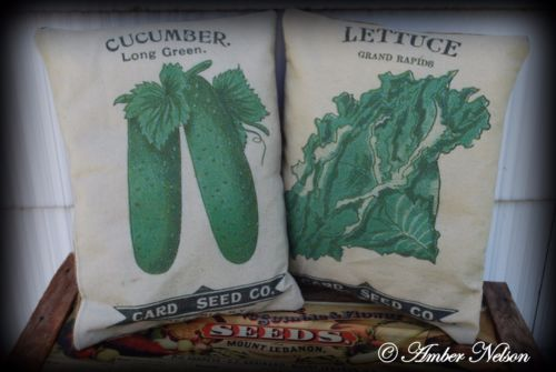 cucumber lettuce card seed company packets old antique cupboard tuck pillows