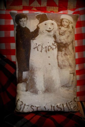 Christmas antique photo pillow smiling snowman Victorian Frosty old Vintage kids