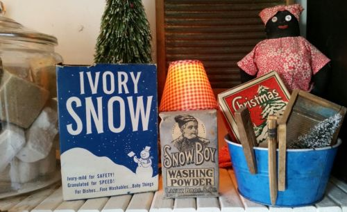 antique Christmas winter laundry soap boxes snow boy ivory wash room decor old