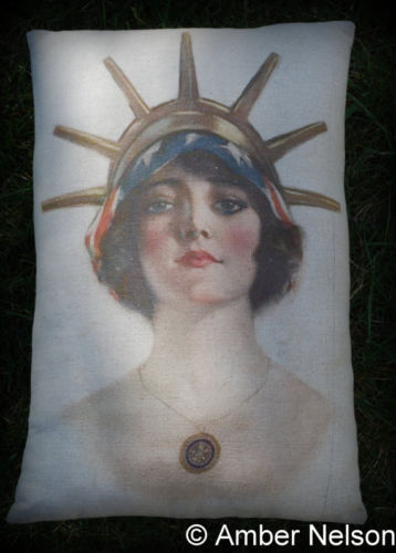 Patriotic 4th of July vintage flag lady liberty pillow American masonic statue