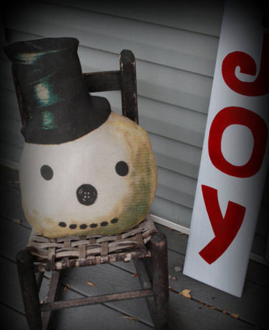 HUGE primitive Christmas Old world Frosty the snowman top hat head pillow winter
