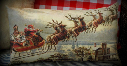 Antique Christmas Santa Claus sleigh reindeer snowy night town pillow cozy throw