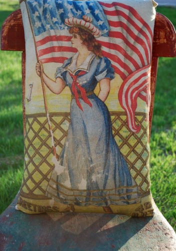 Patriotic 4th of July Sailor girl costume American flag pillow antique victorian