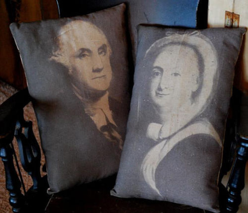 Primitive colonial George Martha Washington Portrait pillows patriotic early