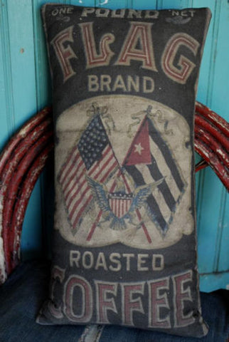 American Flag 4th of July kitchen pillow coffee patriotic primitive antique old