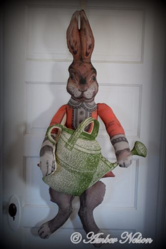 primitive garden bunny rabbit door wall hanging porch sitter HUGE watering can