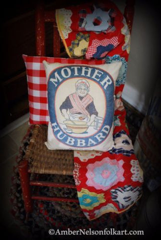 Primitive farmhouse Mother Hubbard Flour Kitchen Pillow yelloware bowl fake sack