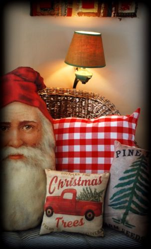 Vintage truck Christmas fresh cut pine trees sign pillow winter forest santa