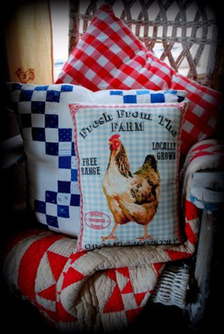 Blue Rooster fresh chicken sign pillow hen eggs chick french country farmhouse
