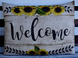 HUGE Farmhouse Fall Harvest Bench Pillow sign WELCOME sunflowers BARNWOOD