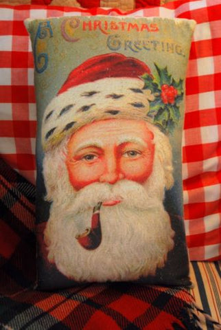 Awesome Santa Claus belsnickle smoking pipe antique primitive Christmas pillow