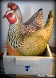 Two Farmhouse Fake Chicken Hens old Coop Nesting Box drawer #7 primitive country