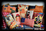 Patriotic American flag antique collage 4th of July throw pillow primitive decor