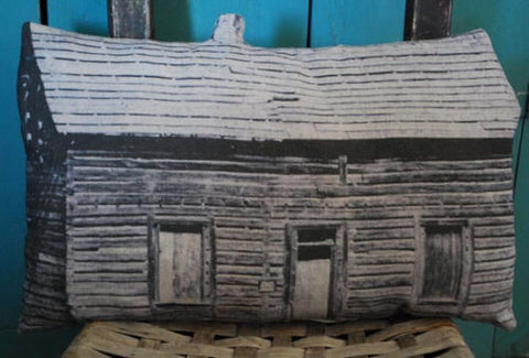 primitive antique old cabin photo pillow farmhouse early 3d style cupboard tuck